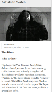 Tira D Featured in Jackson Free Press Artists To Watch Section!