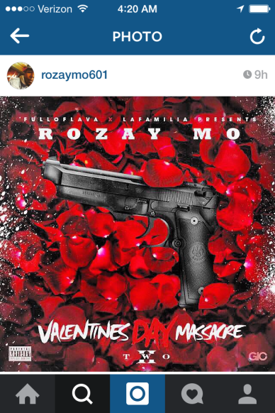 """Cover Art for """"Valentine's Day Massacre TWO"""". It's a fitting coincidence that the time is 4:20."""